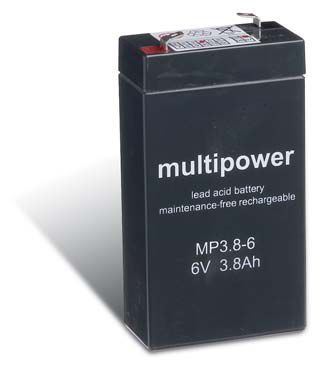 Multipower MP3,8-6 AGM Batterie / Bleiakku 6V 3,8Ah
